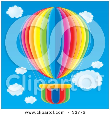 Orange Yellow Green Blue And Pink Striped Hot Air Balloon In A Blue