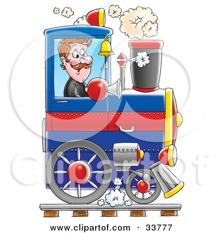 Clipart Illustration Of A Happy Male Train Driver Operating His Blue Train