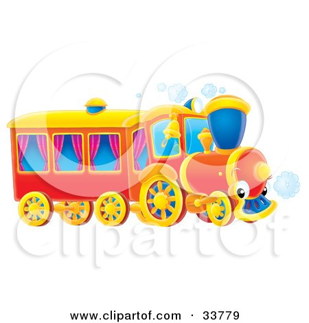 Clipart Illustration of a Red Train With Purple Curtains In The Coach Windows by Alex Bannykh