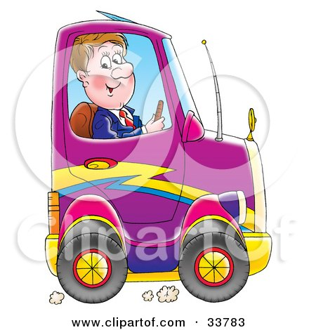 Clipart Illustration of a Business Man Driving A Compact Purple Car by Alex Bannykh