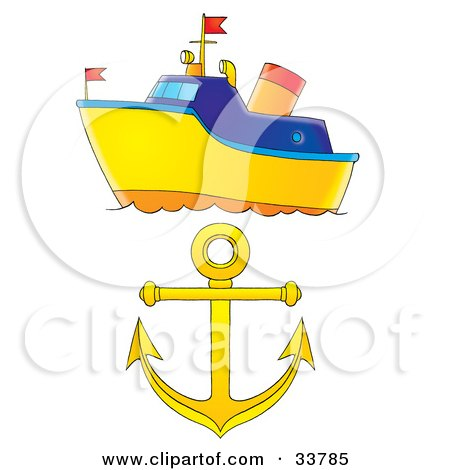 Clipart Illustration of a Blue And Yellow Boat And A Yellow Anchor by Alex Bannykh