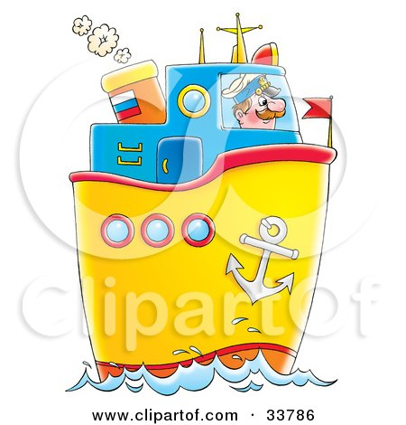 Clipart Illustration of a Male Captain Steering A Boat On The Sea by Alex Bannykh