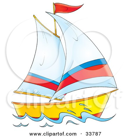 Clipart Illustration of a Sailing Boat With White, Red And Blue Sails And A Red Flag by Alex Bannykh