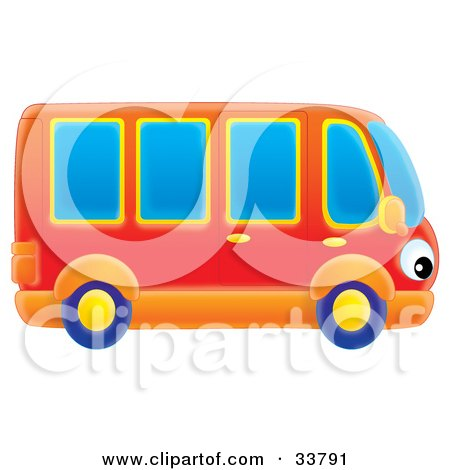 Red And Orange Bus With Eye Headlights Posters, Art Prints
