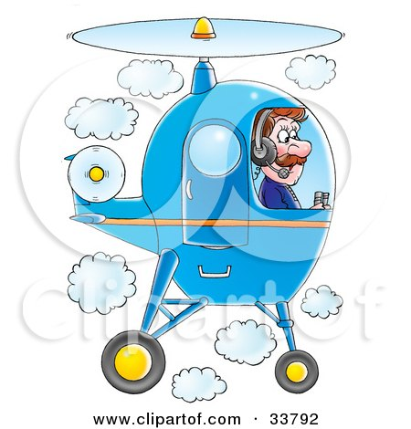 Clipart Illustration of a Male Pilot Flying A Blue Helicopter In A Cloudy Sky by Alex Bannykh
