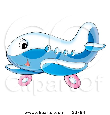 Clipart Illustration of a Cute Blue And White Airplane Character With Pink Wheels by Alex Bannykh