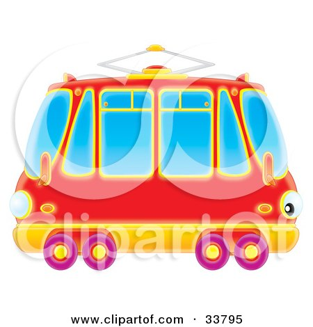 Clipart Illustration of a Red Double Sided Rail Car With Purple Wheels by Alex Bannykh