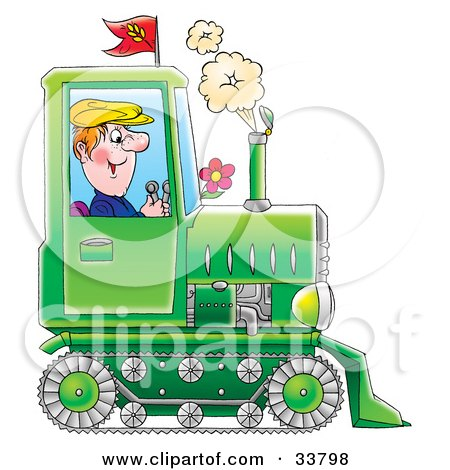Happy Farmer Operating A Green Tractor With Tracks Posters, Art Prints