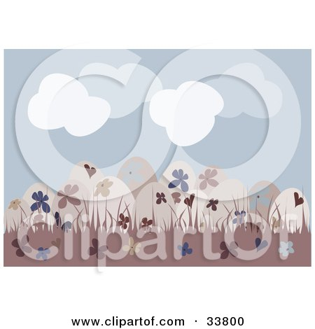 Clipart Illustration of a Group Of Beige, Floral Patterned Easter Eggs In Pink Grass, Under A Cloudy Blue Sky by suzib_100