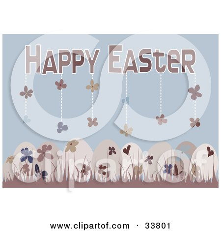 Clipart Illustration of Floral Patterned Easter Eggs In Pink Grass, Over A Blue Background With Flowers Hanging From Happy Easter Text by suzib_100
