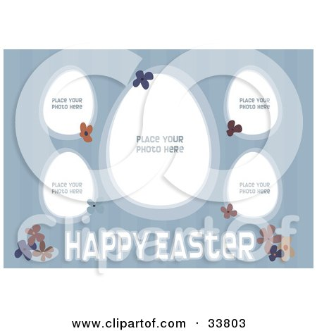 Clipart Illustration of a Striped Blue Background With Flowers, Happy Easter Text, And Five Spots For Photos by suzib_100