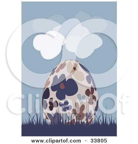 Clipart Illustration of a Beige Easter Egg With Colorful Flower Patterns, Resting In Blue Grass Under A Cloudy Blue Sky by suzib_100