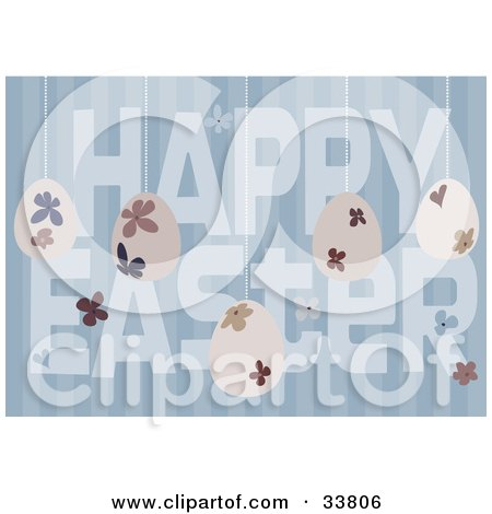 Clipart Illustration of Floral Eggs Suspended Over A Blue Striped Background With Happy Easter Text by suzib_100