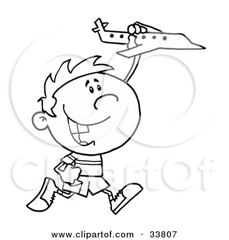 Clipart Illustration of a Black And White Outline Of A Boy Running And Playing With A Toy Airplane by Hit Toon