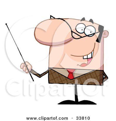 Clipart Illustration of a Manager Or Professor In A Brown Suit And Red Tie, Gesturing With A Pointer Stick by Hit Toon