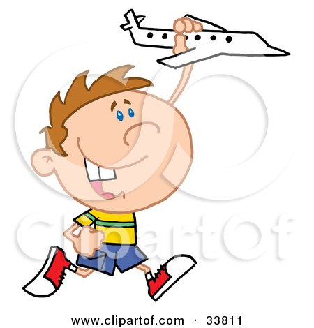 Clipart Illustration of a Happy Caucasian Boy Running And Playing With A Toy Airplane by Hit Toon
