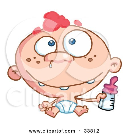 Clipart Illustration of a Toothy Baby With Freckles And Red Hair, Wearing A Diaper And Holding A Bottle, Snot Dripping From His Nose by Hit Toon