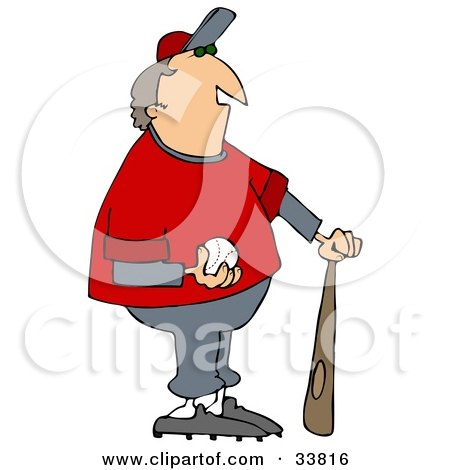 Clipart Illustration of a Chubby Male Coach In A Gray And Red Uniform, Standing With A Bat And Baseball by djart