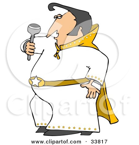Clipart Illustration of an Elvis Impersonator In A White Costume, Dancing And Singing With A Microphone by djart