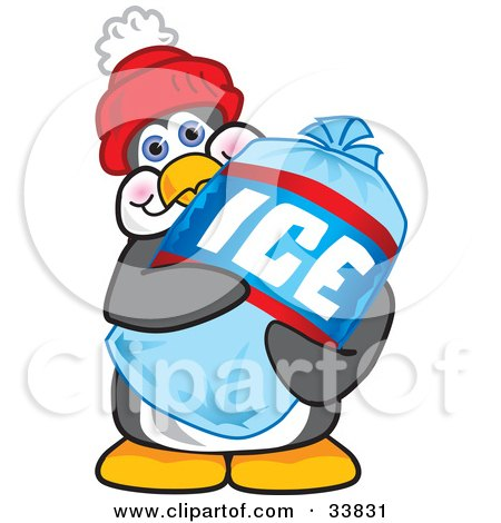 Clipart Illustration Of A Penguin Mascot Cartoon Character Carrying A Bag Of Ice