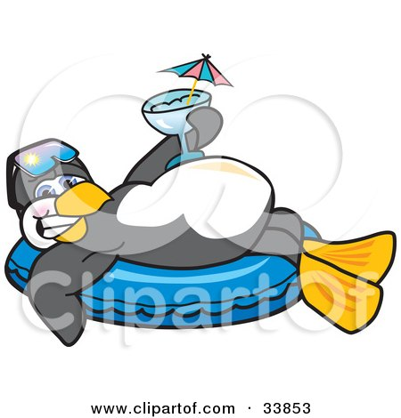 Clipart Illustration of a Happy Penguin Mascot Cartoon Character Relaxing On An Inner Tube, Holding A Cocktail While On Vacation by Toons4Biz