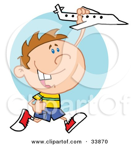 Clipart Illustration of a Little Boy Having Fun, Smiling And Running With A Toy Airplane by Hit Toon