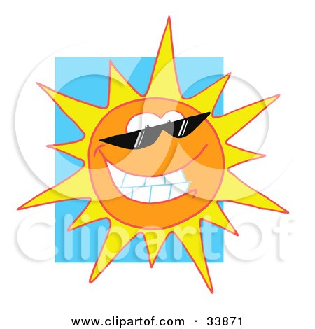 Clipart Illustration of a Grinning Sun Wearing Shades, Shining In A Blue Sky by Hit Toon