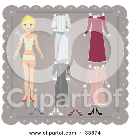 Clipart Illustration of a Blond Paper Doll Girl In Her Under Garments, With Four Different Dresses by Melisende Vector