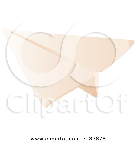 Clipart Illustration of a Folded Paper Airplane Gliding by Rasmussen Images