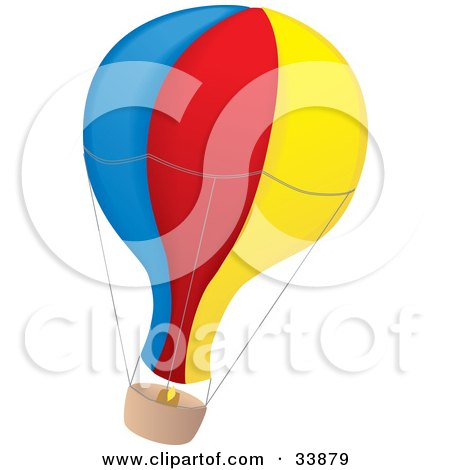 Clipart Illustration of a Blue, Red And Yellow Air Balloon With A Basket, Flying Through The Air by Rasmussen Images