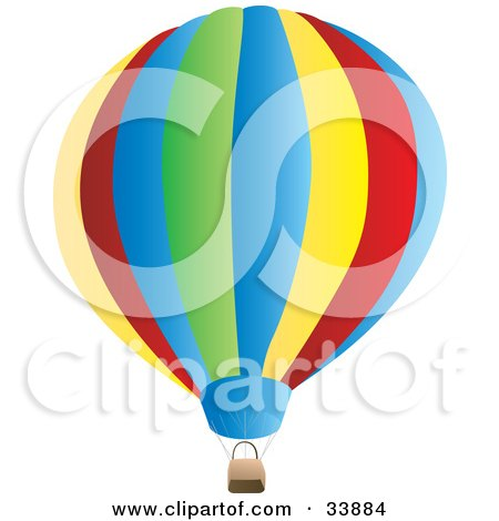 Clipart Illustration of a Large, Colorful Hot Air Balloon With A Basket by Rasmussen Images