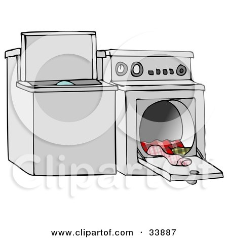 washing machine and dryer clipart. top loading washing machine and an open dryer with warm clothes by djart clipart l