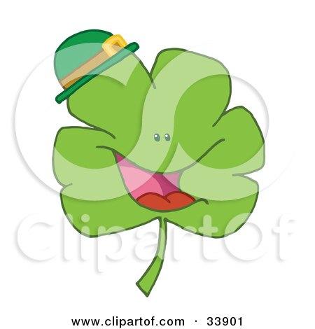 Clipart Illustration of a Cheerful Green Clover Wearing A Green Hat by Hit Toon