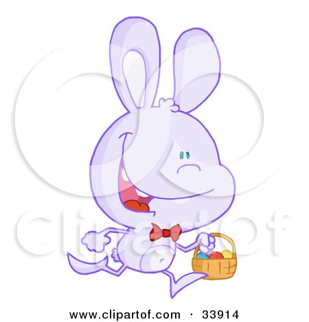 Clipart Illustration of a Happy Pale Purple Bunny Running With Easter Eggs In A Basket, On A White Background by Hit Toon