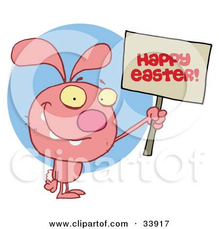 Clipart Illustration of a Pink Bunny Rabbit Holding Up A Happy Easter Greeting Sign, Over A Blue Circle, On A White Background by Hit Toon