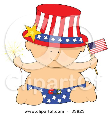 Clipart Illustration of a Baby In A Patriotic American Hat And Diaper, Holding A Sparkler And Flag On Independence Day by Maria Bell