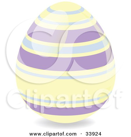 Clipart Illustration of a Decorated Easter Egg With Pastel Yellow And Purple Horizontal Rings by elaineitalia