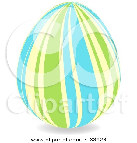 Clipart Illustration of a Decorated Easter Egg With Wavy Vertical Green, Yellow And Blue Lines by elaineitalia