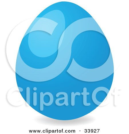 Clipart Illustration of a Shiny Easter Egg Dyed Blue by elaineitalia