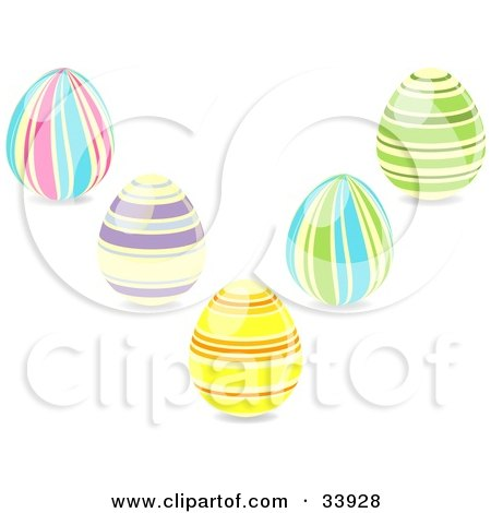 Clipart Illustration of a Group Of Five Striped Easter Eggs In Pink, Blue, Purple, Yellow, Orange And Green Colors by elaineitalia