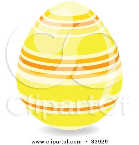 Clipart Illustration of a Decorated Easter Egg With Yellow And Orange Horizontal Rings by elaineitalia