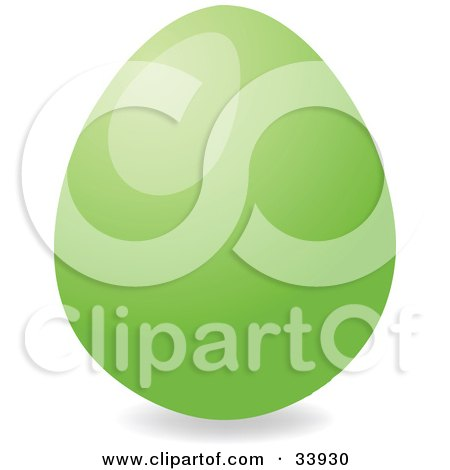 Clipart Illustration of a Shiny Easter Egg Dyed Green by elaineitalia
