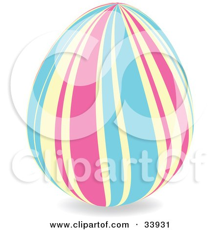Clipart Illustration of a Decorated Easter Egg With Wavy Vertical Pink, Yellow And Blue Lines by elaineitalia