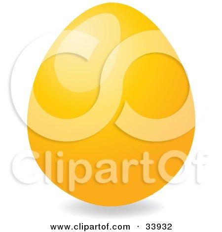 Clipart Illustration of a Shiny Easter Egg Dyed Orange by elaineitalia