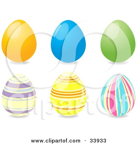Clipart Illustration of a Group Of Six Easter Eggs, Three Solid Yellow, Blue And Green And Three Striped by elaineitalia