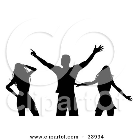 Clipart Illustration of a Man Dancing With Two Sexy Ladies In A Club, Silhouetted In Black, On A White Background by elaineitalia