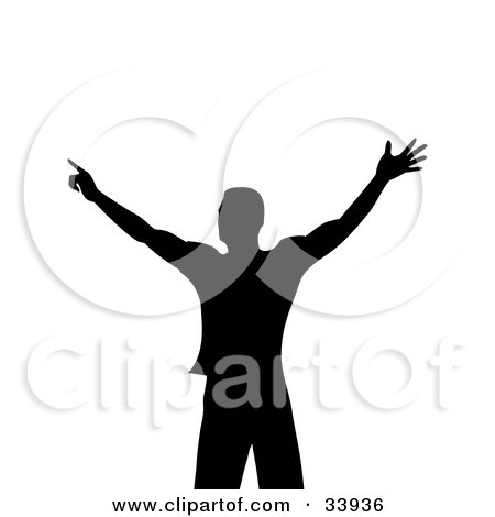 Clipart Illustration of a Silhouetted Muscular Man In Black, Holding His Arms Out, On A White Background by elaineitalia