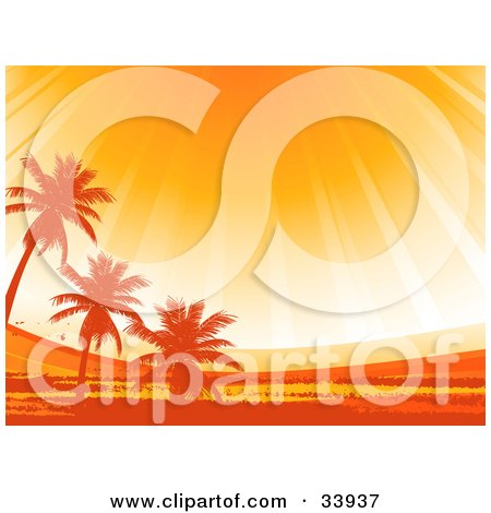 Clipart Illustration of Rays Of Sunshine At Sunset, Shining Down Up On Silhouetted Palm Trees In A Landscape by elaineitalia