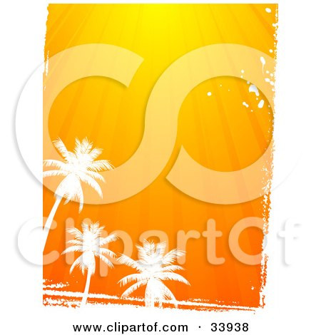 Clipart Illustration of Three Silhouetted White Palm Trees And Grunge, Below Rays Of Orange Sunshine by elaineitalia