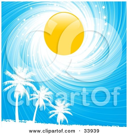 Clipart Illustration of a Bright Yellow Sun In A Swirling White And Blue Sparkly Sky, Above White Silhouetted Palm Trees by elaineitalia